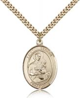 "Gold Filled St. Gerard Majella Pendant, Stainless Gold Heavy Curb Chain, Large Size Catholic Medal, 1"" x 3/4"""