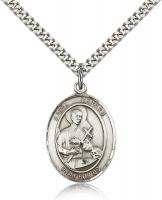 "Sterling Silver St. Gerard Majella Pendant, Stainless Silver Heavy Curb Chain, Large Size Catholic Medal, 1"" x 3/4"""