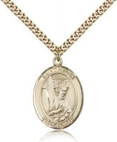 "Gold Filled St. Helen Pendant, Stainless Gold Heavy Curb Chain, Large Size Catholic Medal, 1"" x 3/4"""