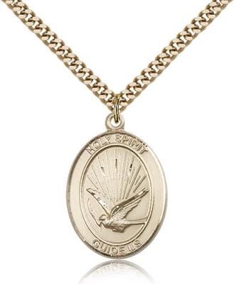 "Gold Filled Holy Spirit Pendant, Stainless Gold Heavy Curb Chain, Large Size Catholic Medal, 1"" x 3/4"""