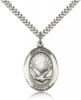 "Sterling Silver Holy Spirit Pendant, Stainless Silver Heavy Curb Chain, Large Size Catholic Medal, 1"" x 3/4"""