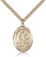 "Gold Filled St. Hubert of Liege Pendant, Stainless Gold Heavy Curb Chain, Large Size Catholic Medal, 1"" x 3/4"""