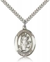 "Sterling Silver St. Hubert of Liege Pendant, Stainless Silver Heavy Curb Chain, Large Size Catholic Medal, 1"" x 3/4"""