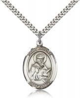 "Sterling Silver St. Isidore of Seville Pendant, Stainless Silver Heavy Curb Chain, Large Size Catholic Medal, 1"" x 3/4"""