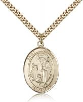 "Gold Filled St. James the Greater Pendant, Stainless Gold Heavy Curb Chain, Large Size Catholic Medal, 1"" x 3/4"""