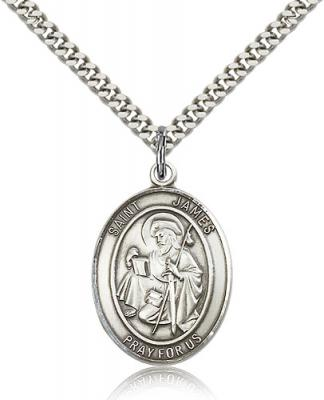 "Sterling Silver St. James the Greater Pendant, Stainless Silver Heavy Curb Chain, Large Size Catholic Medal, 1"" x 3/4"""