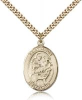 "Gold Filled St. Jason Pendant, Stainless Gold Heavy Curb Chain, Large Size Catholic Medal, 1"" x 3/4"""