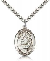 "Sterling Silver St. Jason Pendant, Stainless Silver Heavy Curb Chain, Large Size Catholic Medal, 1"" x 3/4"""