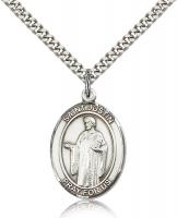 "Sterling Silver St. Justin Pendant, Stainless Silver Heavy Curb Chain, Large Size Catholic Medal, 1"" x 3/4"""