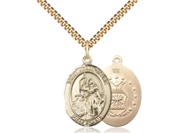 "Gold Filled St. Joan Of Arc / Air Force Pendant, SG Heavy Curb Chain, Large Size Catholic Medal, 1"" x 3/4"""