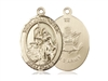 "Gold Filled St. Joan Of Arc / Army Pendant, SG Heavy Curb Chain, Large Size Catholic Medal, 1"" x 3/4"""