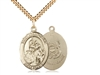 "Gold Filled St. Joan Of Arc /Coast Guard Pendant, SG Heavy Curb Chain, Large Size Catholic Medal, 1"" x 3/4"""