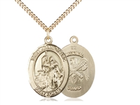 "Gold Filled St. Joan Of Arc / Nat'L Guard Pendant, SG Heavy Curb Chain, Large Size Catholic Medal, 1"" x 3/4"""