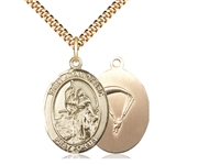 "Gold Filled St. Joan Of Arc / Paratrooper Pendant, SG Heavy Curb Chain, Large Size Catholic Medal, 1"" x 3/4"""