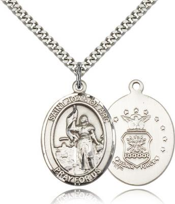"Sterling Silver St. Joan of Arc / Air Force Pendan, Stainless Silver Heavy Curb Chain, Large Size Catholic Medal, 1"" x 3/4"""