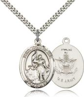 "Sterling Silver St. Joan of Arc / Army Pendant, Stainless Silver Heavy Curb Chain, Large Size Catholic Medal, 1"" x 3/4"""