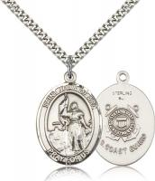 "Sterling Silver St. Joan of Arc /Coast Guard Penda, Stainless Silver Heavy Curb Chain, Large Size Catholic Medal, 1"" x 3/4"""