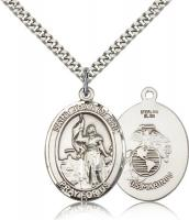"Sterling Silver St. Joan of Arc / Marines Pendant, Stainless Silver Heavy Curb Chain, Large Size Catholic Medal, 1"" x 3/4"""