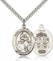 "Sterling Silver St. Joan of Arc Pendant, Stainless Silver Heavy Curb Chain, Large Size Catholic Medal, 1"" x 3/4"""