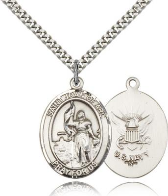 "Sterling Silver St. Joan of Arc / Navy Pendant, Stainless Silver Heavy Curb Chain, Large Size Catholic Medal, 1"" x 3/4"""