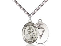 "Sterling Silver St. Joan Of Arc / Paratrooper Pend, SN Heavy Curb Chain, Large Size Catholic Medal, 1"" x 3/4"""