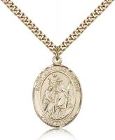 "Gold Filled St. John the Baptist Pendant, Stainless Gold Heavy Curb Chain, Large Size Catholic Medal, 1"" x 3/4"""