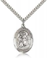 "Sterling Silver St. John the Baptist Pendant, Stainless Silver Heavy Curb Chain, Large Size Catholic Medal, 1"" x 3/4"""