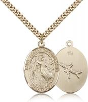"Gold Filled St. Joseph Of Cupertino Pendant, Stainless Gold Heavy Curb Chain, Large Size Catholic Medal, 1"" x 3/4"""