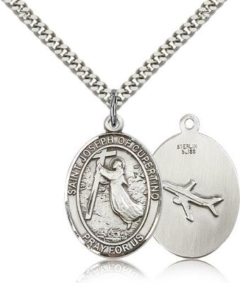 "Sterling Silver St. Joseph Of Cupertino Pendant, Stainless Silver Heavy Curb Chain, Large Size Catholic Medal, 1"" x 3/4"""