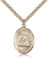 "Gold Filled St. Joshua Pendant, Stainless Gold Heavy Curb Chain, Large Size Catholic Medal, 1"" x 3/4"""