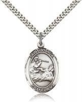 "Sterling Silver St. Joshua Pendant, Stainless Silver Heavy Curb Chain, Large Size Catholic Medal, 1"" x 3/4"""