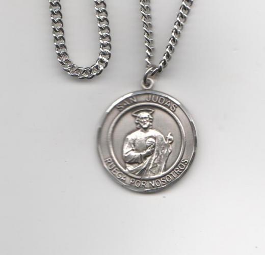 San Judas Tadeo Medalla Grande De Plata Esterelina 1 Forma Redonda