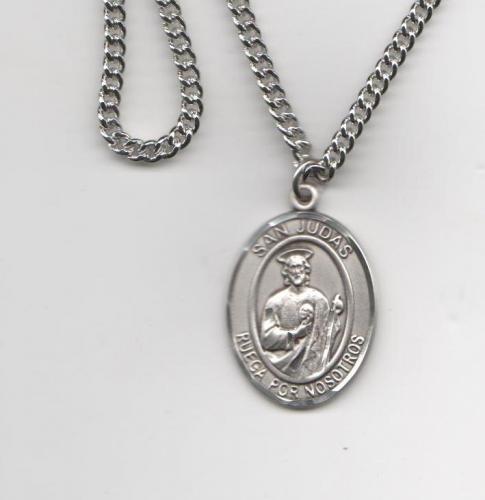 San Judas Tadeo Medalla Grande De Plata Esterelina 1 Forma Oval