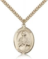 "Gold Filled St. Kateri Pendant, Stainless Gold Heavy Curb Chain, Large Size Catholic Medal, 1"" x 3/4"""