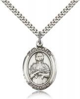 "Sterling Silver St. Kateri Pendant, Stainless Silver Heavy Curb Chain, Large Size Catholic Medal, 1"" x 3/4"""