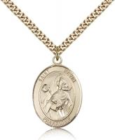 "Gold Filled St. Kevin Pendant, Stainless Gold Heavy Curb Chain, Large Size Catholic Medal, 1"" x 3/4"""