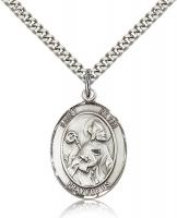 "Sterling Silver St. Kevin Pendant, Stainless Silver Heavy Curb Chain, Large Size Catholic Medal, 1"" x 3/4"""