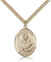 "Gold Filled St. Lawrence Pendant, Stainless Gold Heavy Curb Chain, Large Size Catholic Medal, 1"" x 3/4"""