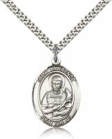 "Sterling Silver St. Lawrence Pendant, Stainless Silver Heavy Curb Chain, Large Size Catholic Medal, 1"" x 3/4"""