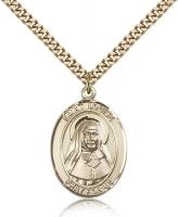 "Gold Filled St. Louise de Marillac Pendant, Stainless Gold Heavy Curb Chain, Large Size Catholic Medal, 1"" x 3/4"""
