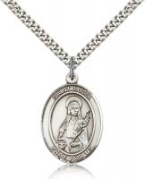 "Sterling Silver St. Lucia of Syracuse Pendant, Stainless Silver Heavy Curb Chain, Large Size Catholic Medal, 1"" x 3/4"""