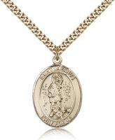 "Gold Filled St. Lazarus Pendant, Stainless Gold Heavy Curb Chain, Large Size Catholic Medal, 1"" x 3/4"""