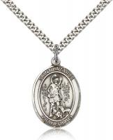 "Sterling Silver St. Lazarus Pendant, Stainless Silver Heavy Curb Chain, Large Size Catholic Medal, 1"" x 3/4"""