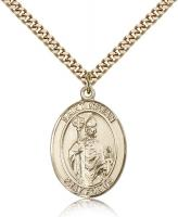 "Gold Filled St. Kilian Pendant, Stainless Gold Heavy Curb Chain, Large Size Catholic Medal, 1"" x 3/4"""