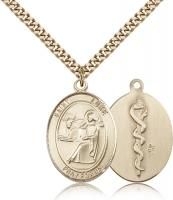 "Gold Filled St. Luke the Apostle Pendant, Stainless Gold Heavy Curb Chain, Large Size Catholic Medal, 1"" x 3/4"""