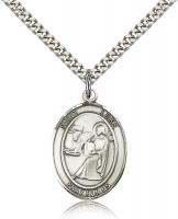 "Sterling Silver St. Luke the Apostle Pendant, Stainless Silver Heavy Curb Chain, Large Size Catholic Medal, 1"" x 3/4"""