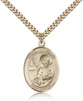 "Gold Filled St. Mark the Evangelist Pendant, Stainless Gold Heavy Curb Chain, Large Size Catholic Medal, 1"" x 3/4"""