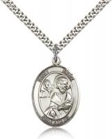 "Sterling Silver St. Mark the Evangelist Pendant, Stainless Silver Heavy Curb Chain, Large Size Catholic Medal, 1"" x 3/4"""
