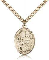 "Gold Filled St. Mary Magdalene Pendant, Stainless Gold Heavy Curb Chain, Large Size Catholic Medal, 1"" x 3/4"""