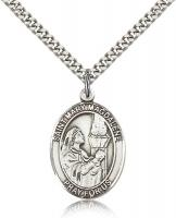 "Sterling Silver St. Mary Magdalene Pendant, Stainless Silver Heavy Curb Chain, Large Size Catholic Medal, 1"" x 3/4"""